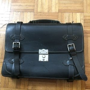 Navarro black satchel briefcase leather
